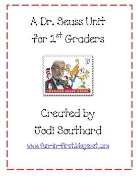 unit focuses on some of Dr. Seuss's most popular books.  It includes reading and writing activities as well as a science activity....for my 1st gr teacher friends!This unit focuses on some of Dr. Seuss's most popular books.  It includes reading and writing activities as well as a science activity....for my 1st gr teacher friends!