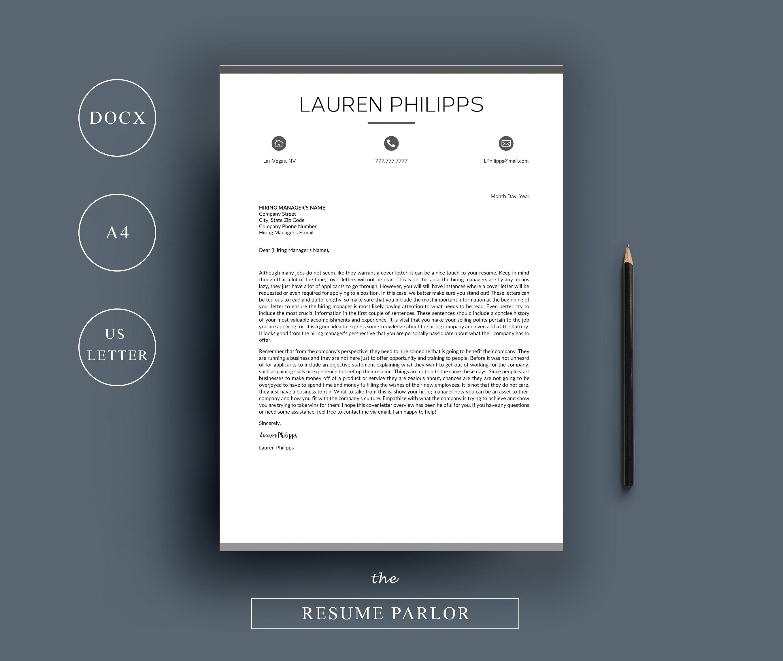 Resume 4 Page A4 US Letter #Page#References#Format#Cover