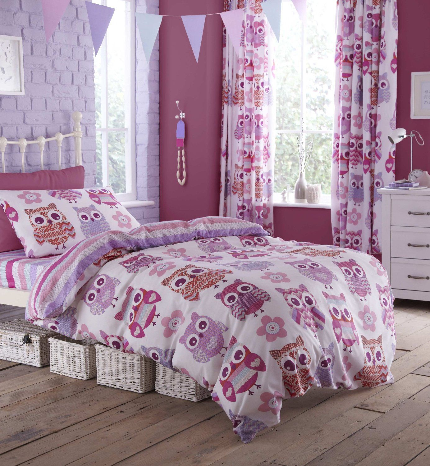 Colourful Print Catherine Lansfield Owl Single Duvet Set This Cover Fits A Standard Bed It Is Manufactured From Soft Cotton Rich