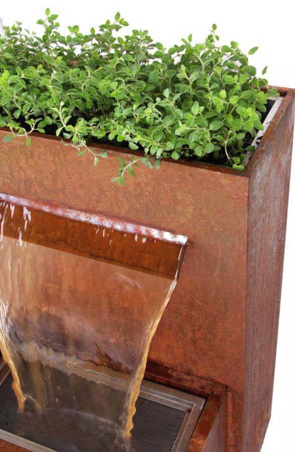 Bepflanzbarer Wasserfall Brunnen Corten Steel Planters Types
