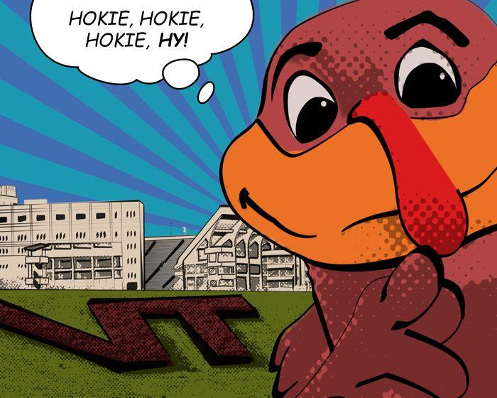 The Hokiebird Takes A Style Cue From Roy Lichtenstein S Oh Jeff I Love You Too But 1964 Virginia Tech Football Hokies Cute Cartoon