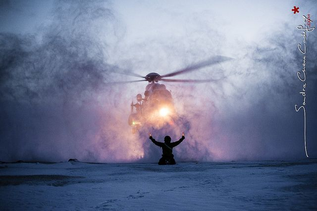 Super Puma landing in front of the rescue man in Svalbard 78° North (2012)
