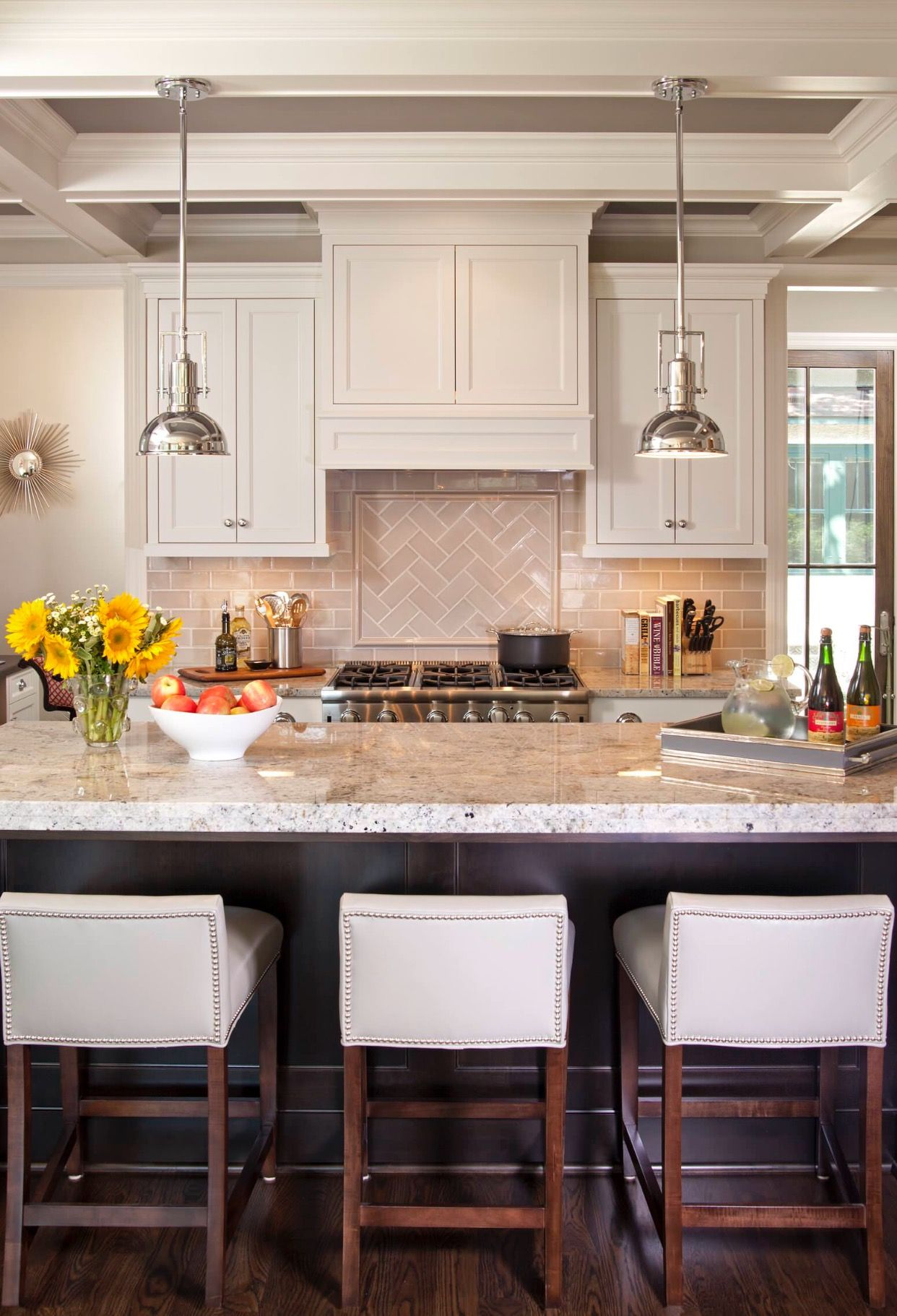 Refined LLC Fantastic two tone kitchen with glossy