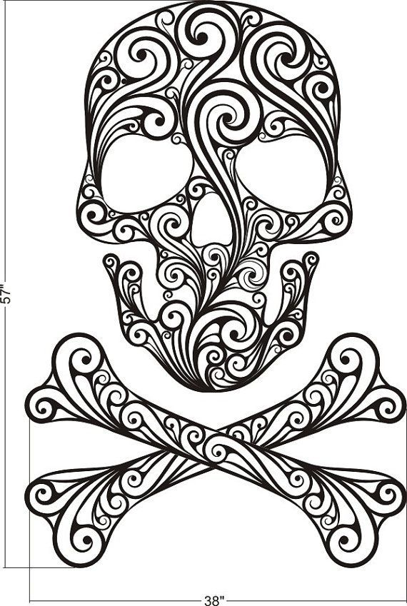 Wall Decal Sugar Skull Crossbones Tattoo Rock And Roll