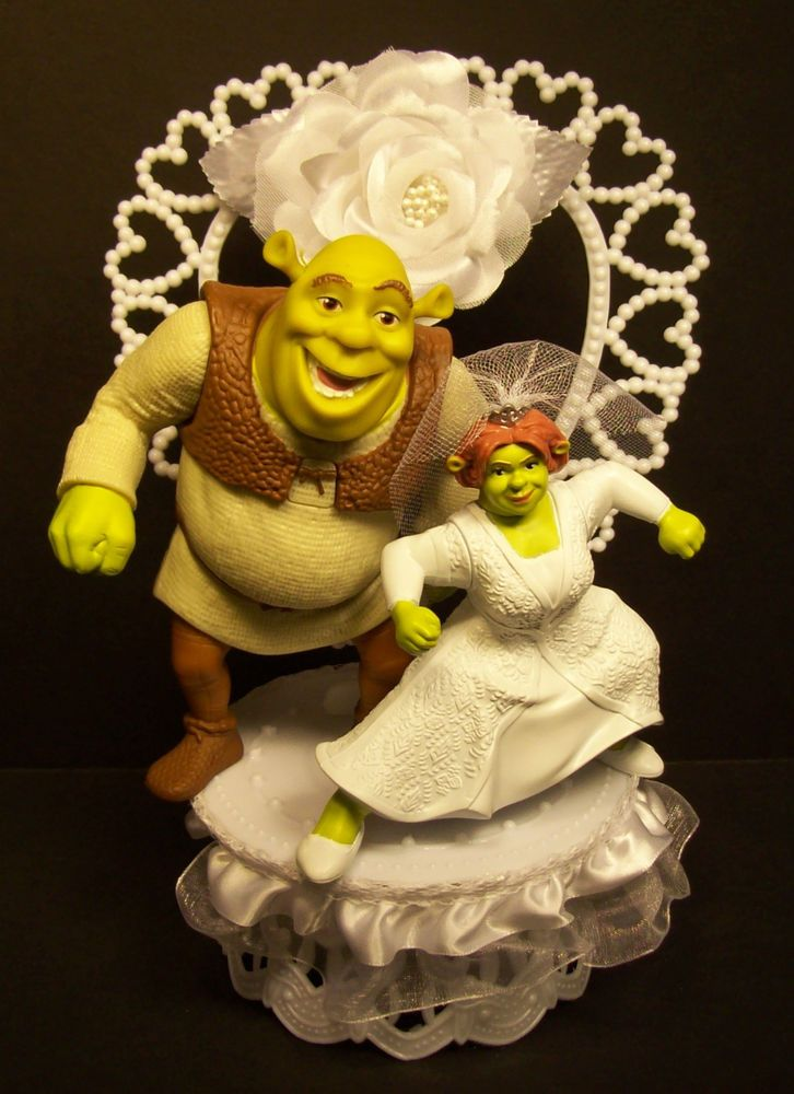 Shrek and Fiona w/White Vail WEDDING CAKE TOPPER FUNNY White Flower ...