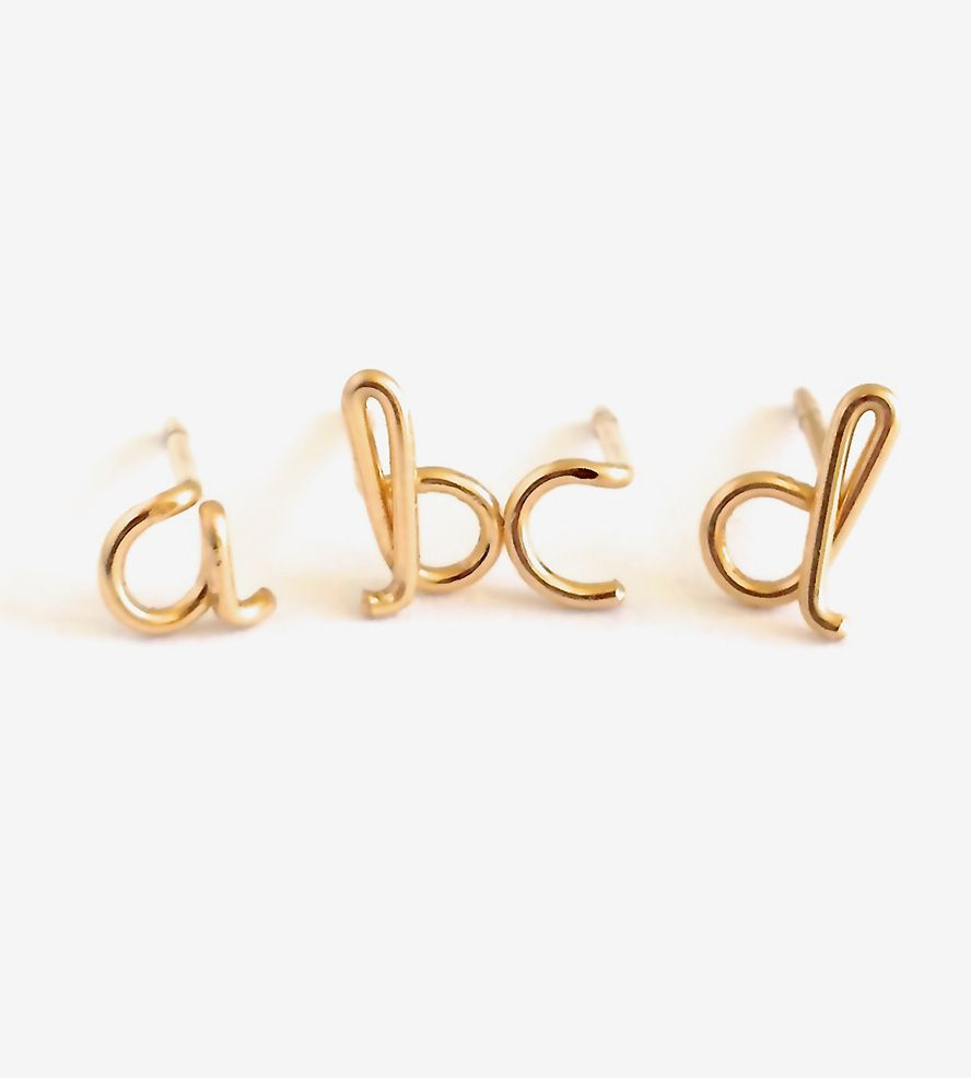 alphabet earrings mini gold stud solid dp stones with initial letter