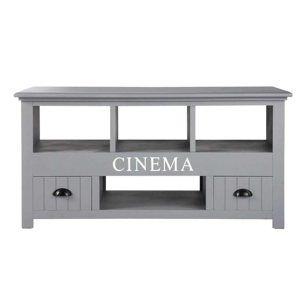 meuble tv en bois gris l 120 cm maisons du monde c t. Black Bedroom Furniture Sets. Home Design Ideas