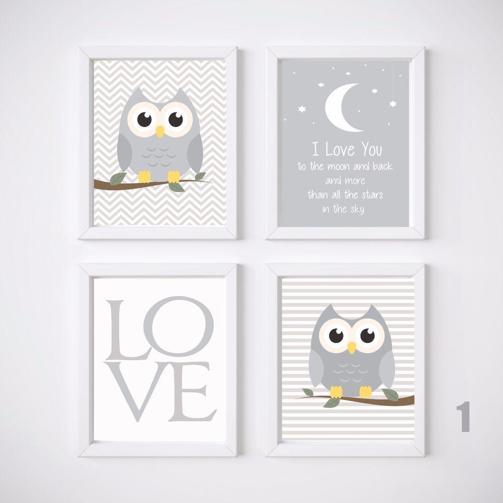 Owl Nursery Prints Wall Art Kids Room Decor 4 A4 Set Baby Girl Or