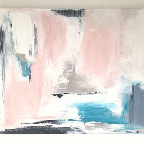"Here's a bit more colourful painting ""Onni"" 2017, 65*81cm. This was designed for @cafeaulis' owner @miiias. Thank you! ❤❤  .  .  .  .  .  .  .  #kaarniadesign #karoliinapeltokorpi #taidetilaus  #artbykaroliinapeltokorpi #interiordesign #colourful #turquoise #pastels #abstractart #modernart #contemporaryart #taide #art #konst #kunst #sisustus #interior #inredning"