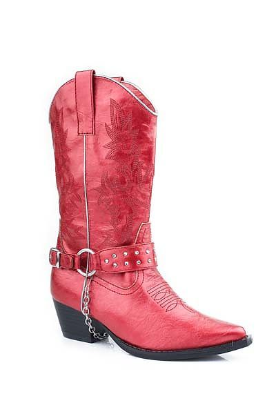 Kids Roper Red Harness Cowboy Boots w/ Crystal & Ankle Strap | Kid ...