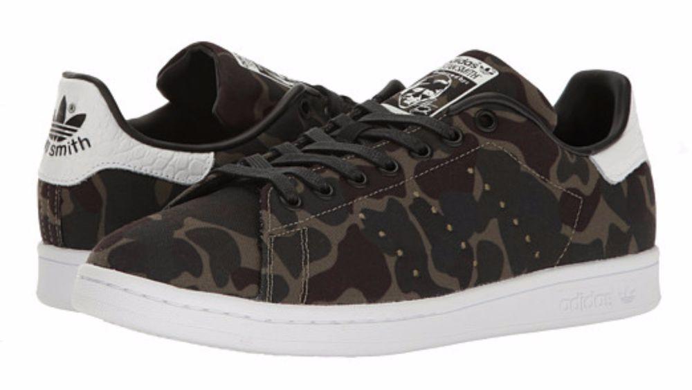 Details about Men\u0027s Adidas Originals STAN SMITH Core Black/white camo BB0060