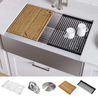 Kraus Kore Workstation Farmhouse Apron Front Stainless Steel 30 In