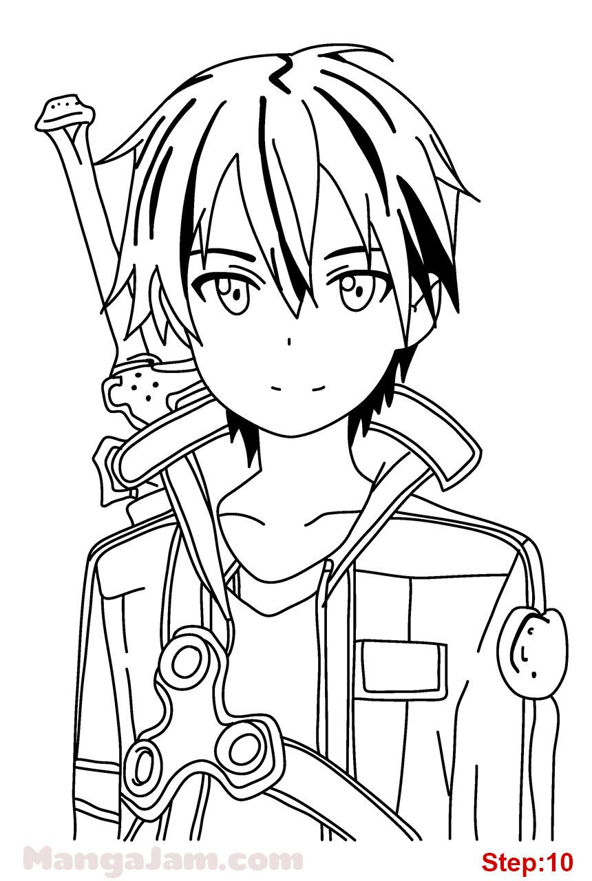 How to draw kirito from sword art online in