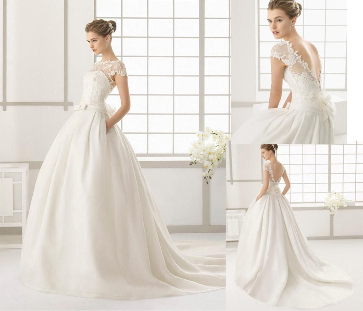 2nd hand wedding dresses  Rosa Clara Modest A Line Wedding Dresses With Short Sleeves Jewel
