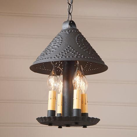 BRITTON PUNCHED TIN PENDANT LIGHT Handcrafted 4 Candle Primitive ...