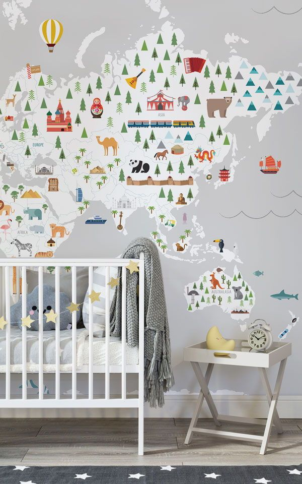 Décoration murale carte Ultimate Kids gris Wallpaper murals