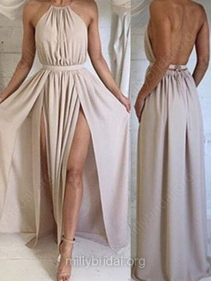 f3b7fb8236a Summer A-line Halter Chiffon Floor-length Split Front Backless Prom Dresses   Milly020103638