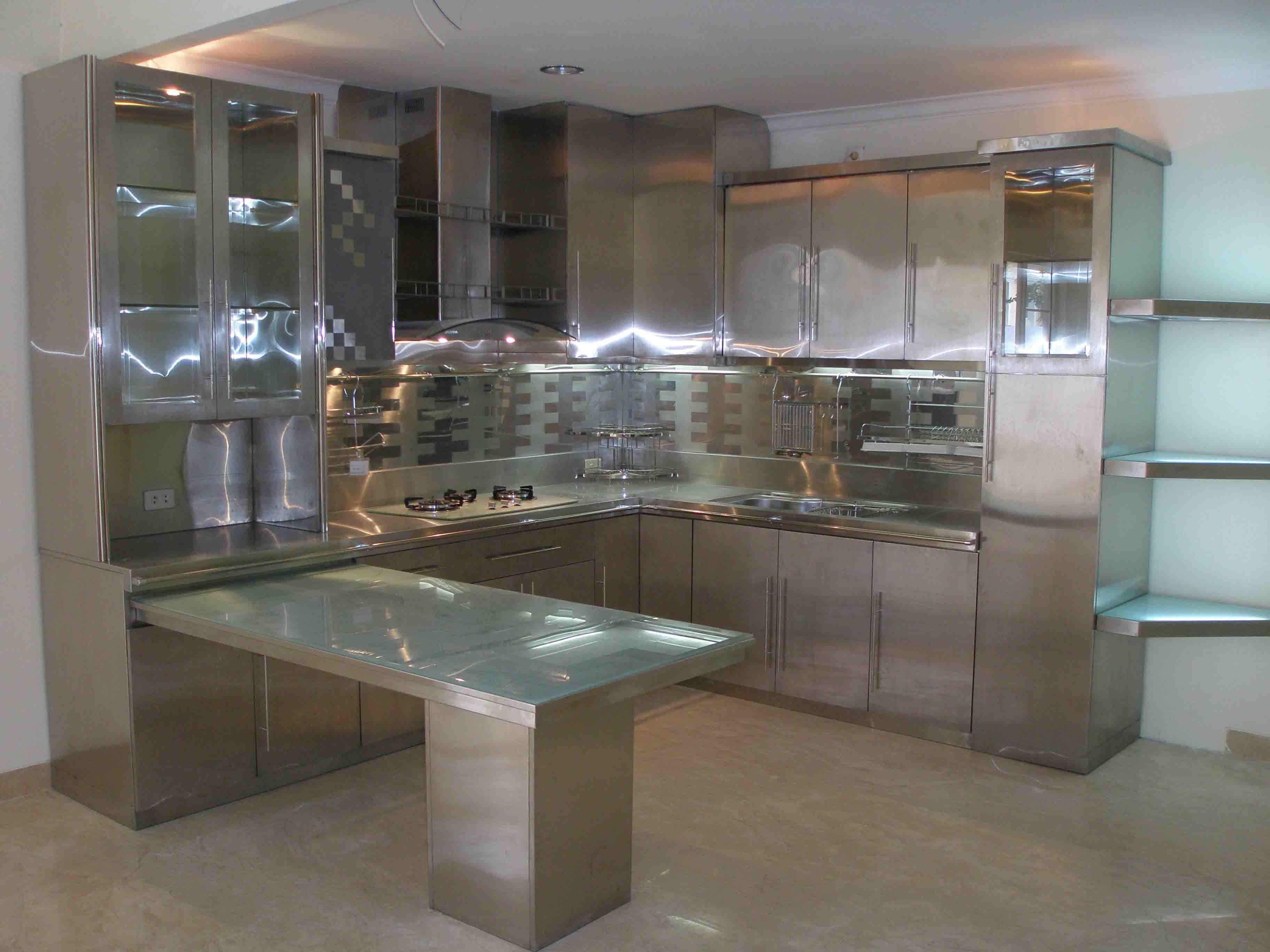 Modern Glass Kitchen Cabinets Furniture Cool Stainless Steel Cabinets With Modern Glass Super