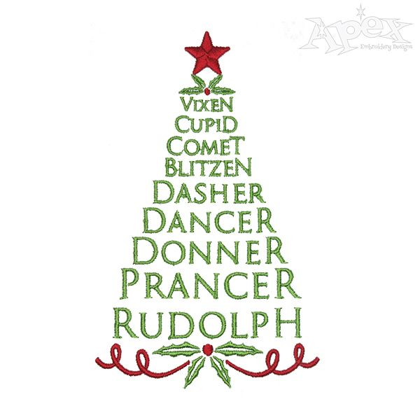 reindeer names christmas tree embroidery design