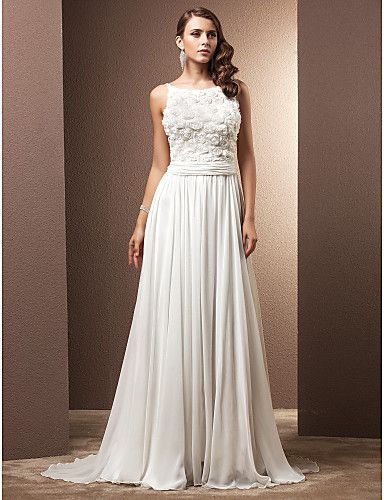 Sheath/Colum Wedding Dress Court Train Ruched Chiffon Straps with Flower Bodice