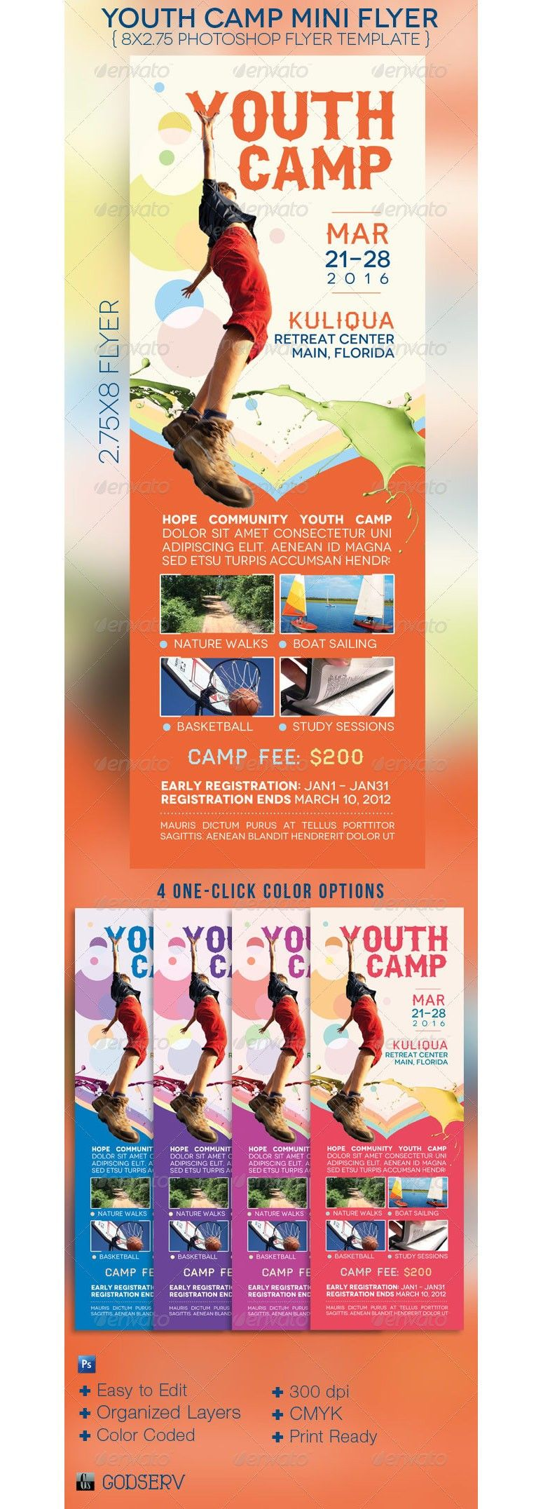 youth camp mini flyer template gd layout inspiration flyer