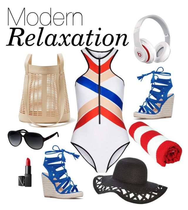 """Beach Day: Modern Relaxation"" by snapbackya ❤ liked on Polyvore featuring P.E Nation, Beats by Dr. Dre, Modern Weaving, Gucci, NARS Cosmetics and modern"