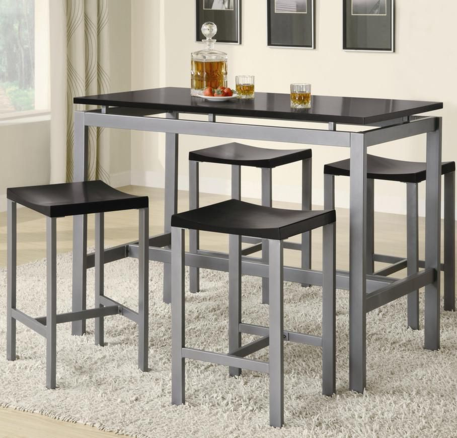 Atlus Counter Height Silver Metal and Black Dining Set by Coaster  http://www.ubuyfurniture.com/atlus-dining-table-set-coaster-150095.html  #blackmetal   #furniture   #onlinebusiness   #kitchenideas