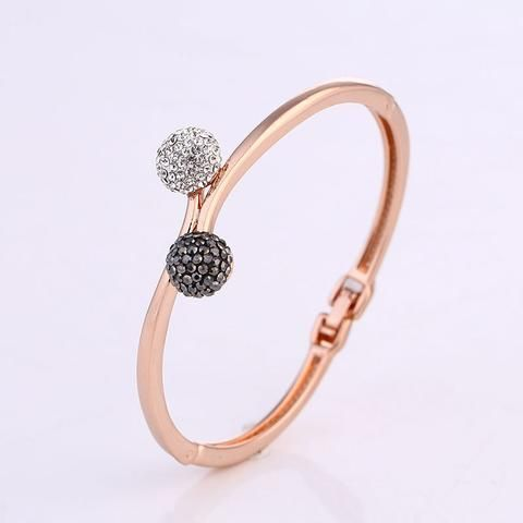 New Style Fashion Jewelry High Quality Gold Plated Rhinestones Double Ball Bracelets & Bangles For Women Femme Best Gift Friend