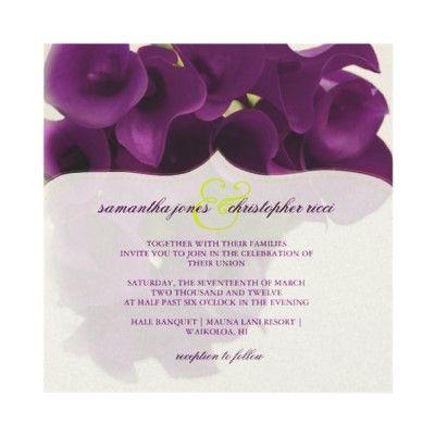 Calla Lily Wedding Invitations Calla Lily Wedding Purple Calla