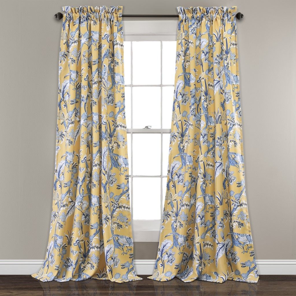 Dolores Room Darkening Window Curtain Panels Yellow Set 52x108 2 Half Moon 16t003468 Panel Curtains Yellow Curtains Curtains