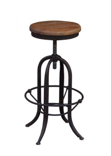 """Kul Raffles barstol i resirkulert alm med fotstøtte i """"rustent"""" jern! Dette er barstolen for deg som liker det røffe litt utenom det vanlige!Mål:Diameter: 45cmHøyde:   62-78cmMateriale:Sete i resirkulert almUnderstell i jernVarenummer: 690901"""