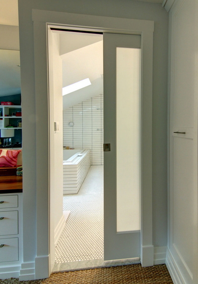 Pocket Door With Frosted Glass Home Guest Bath Glass