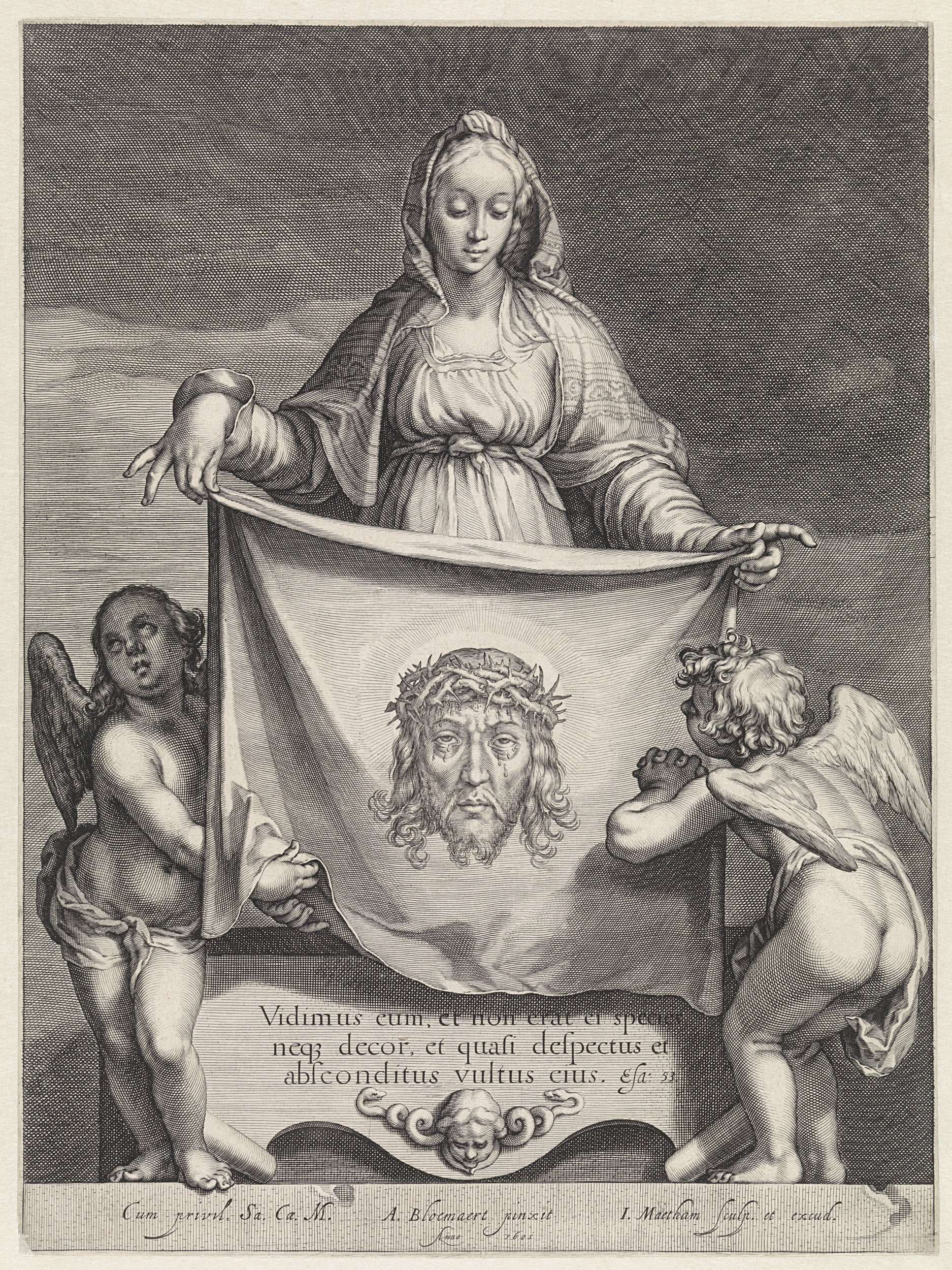 H. Veronica met de zweetdoek, Jacob Matham, 1605