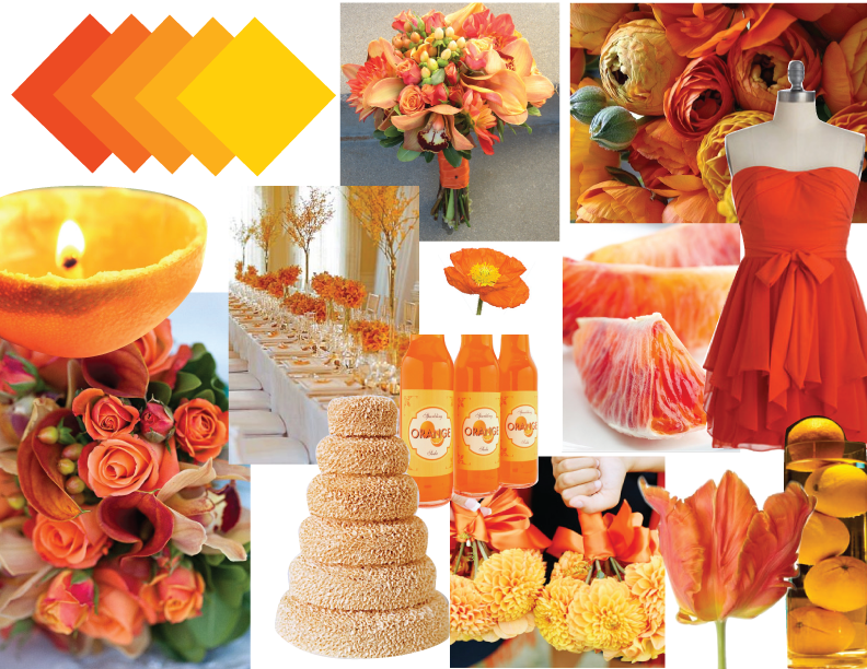 Different Shades Of Orange the wedding cake topper is combined with two different shades of
