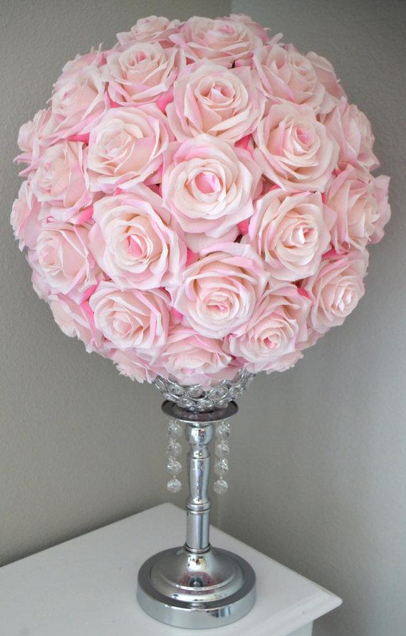 Pink Wedding Centerpiece Flower Ball Pink Kissing Ball Pink Etsy Wedding Centerpieces Flower Centerpieces Wedding Cheap Wedding Flowers