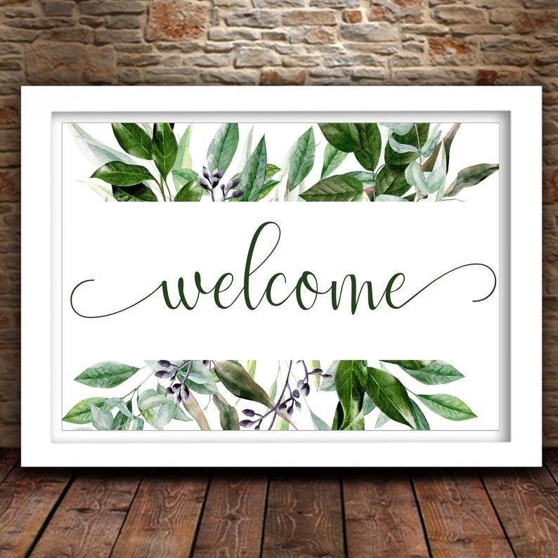 Welcome Printable Greenery Wall Art Home Office Decor