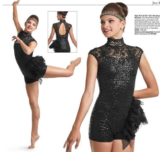 88d23eb590fb Wondrous Black Lace Sequins Boy Short Jazz   Tap Dance Costume ...