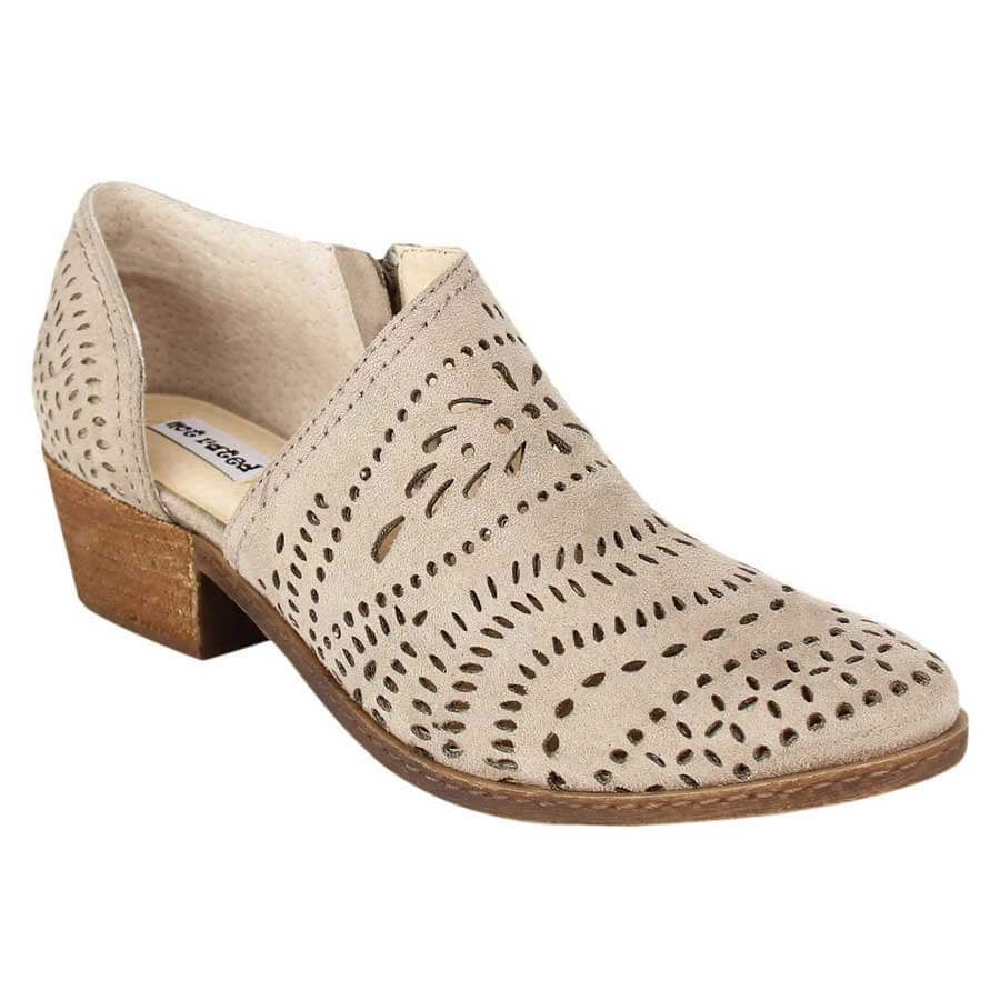 a56cb9e9f1bf29 Not Rated Shoes Anouk Cut Out Perforated Ankle Booties in Taupe NRLB0400-TAU