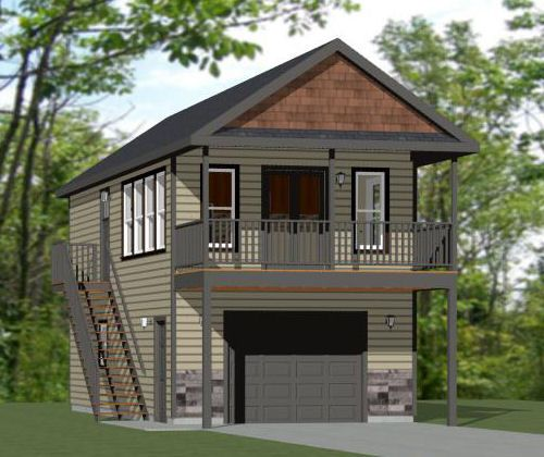 1 1 2 Story Two Car Garage With Apartment: 16x36 House -- #16X36H9I -- 744 Sq Ft