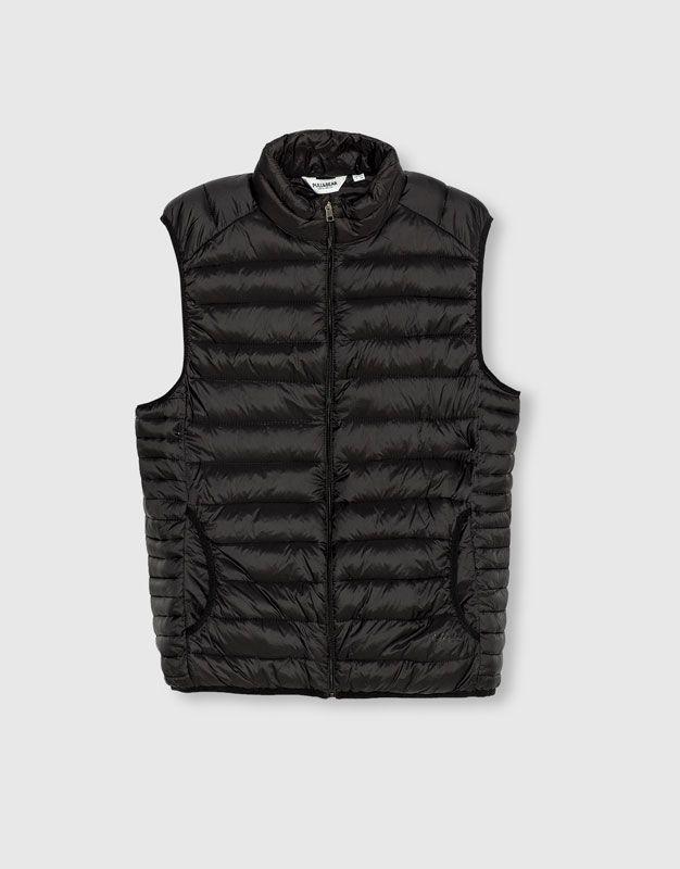 d7c2556a9805d Pull Bear - hombre - ropa - abrigos y cazadoras - chaleco acolchado - negro  - 09774505-I2016