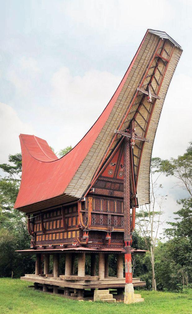 sketsa gambar rumah adat suku toraja