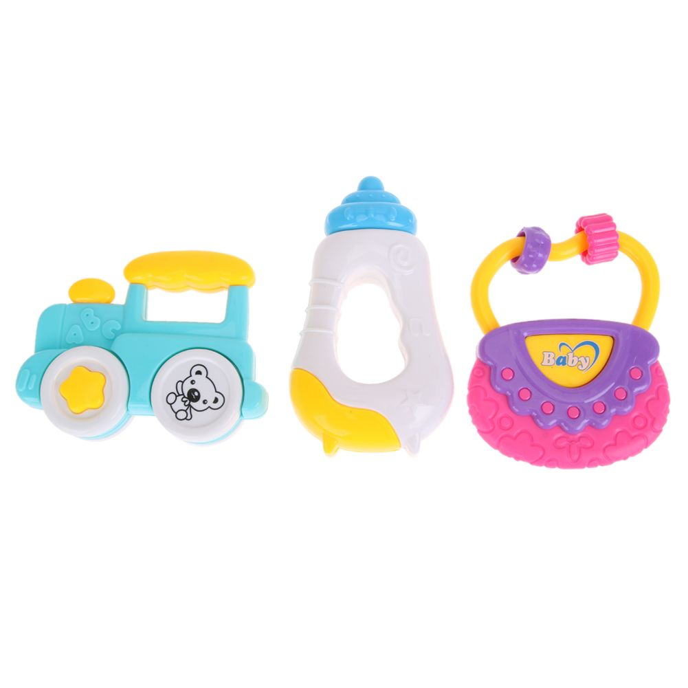 Baby toys images cartoon  pcspcs Baby Rattle Toys Cartoon Animal HouseHandbagbeeCar