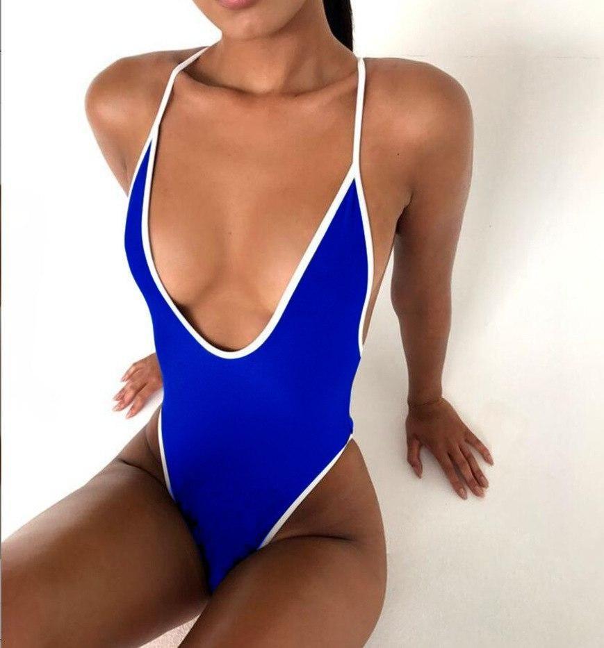 fe1f08b94c77b Solid One Piece Swimsuit 2018 Sexy Thong Swimwear Bandage Bathing Suit  Women Halter Bodysuit Swimsuit Beach Wear Monokini