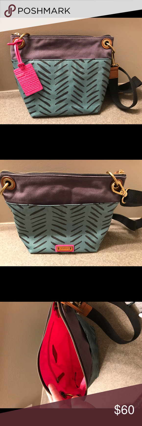 Fossil Crossbody Excellent like new condition.  Only used a couple of times.  Last photo is to show style only--color is that of first three pictures. Fossil Bags Crossbody Bags