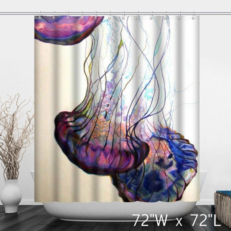 Colorful Jellyfish Print Bathroom Shower Curtain In 2020
