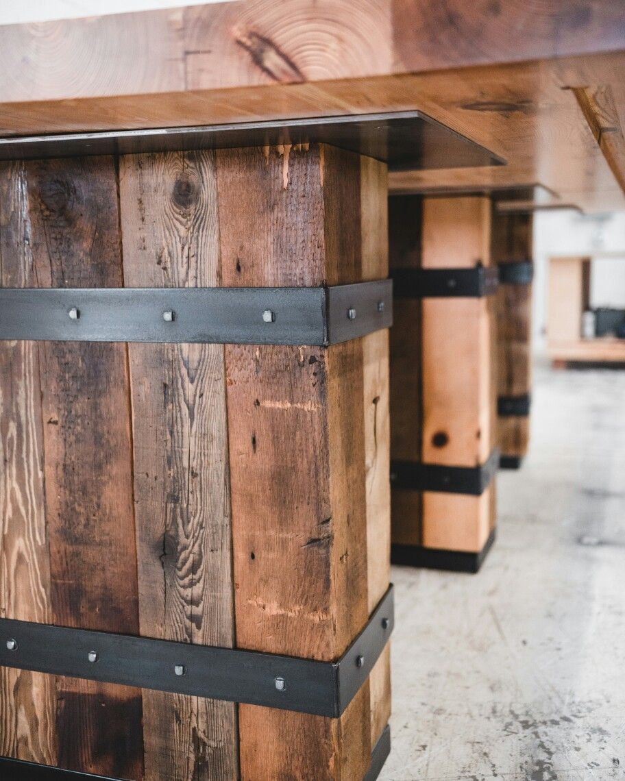 Built And Designed By Real Edge Furniture Reclaimed Bundled Beam Base With Hidden Wires To Data Strips Under Table Heart Pine Top 3