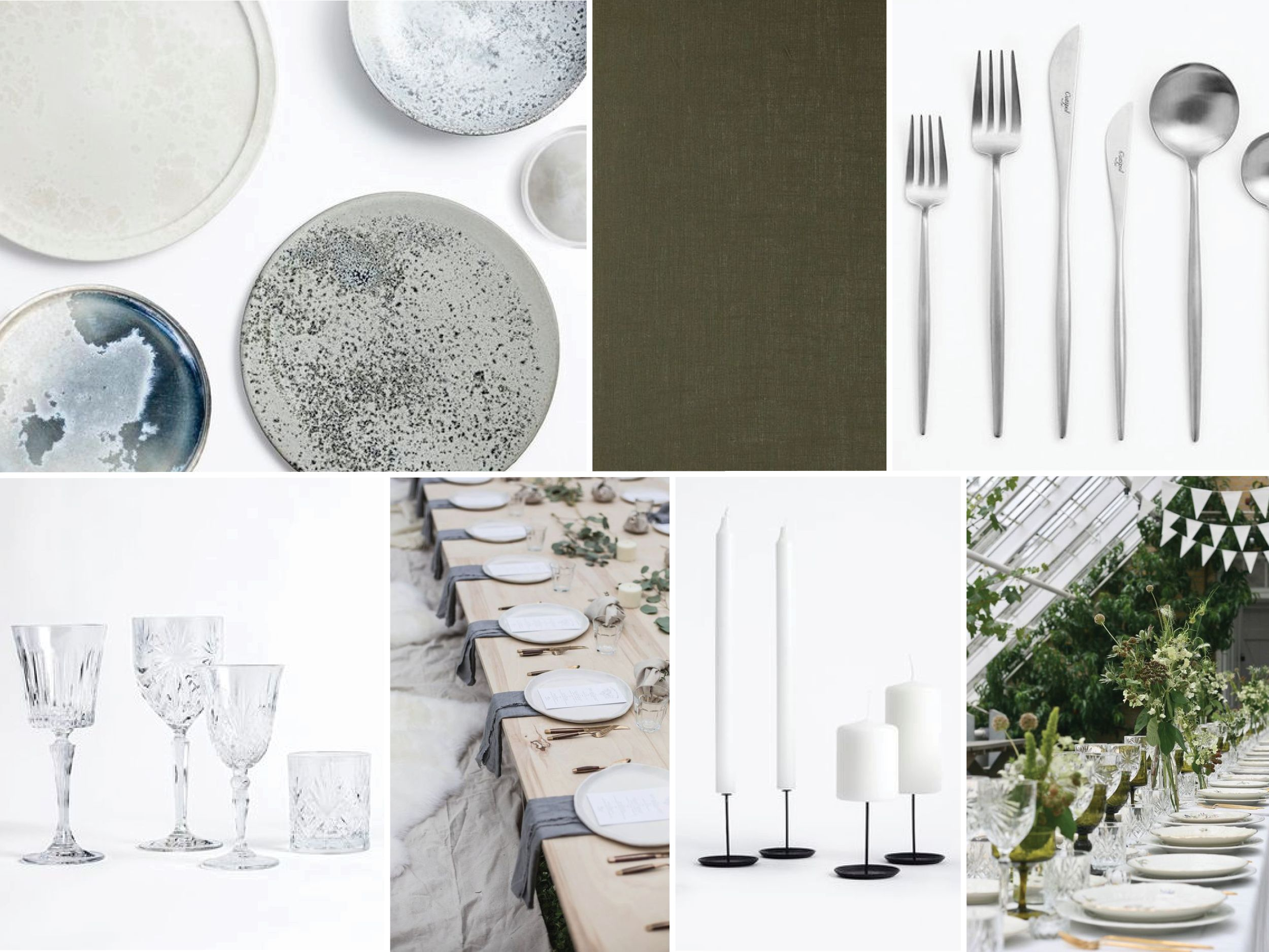 Moodboard for table setting, naming celebration, simple and botanical, A Table Story, via Scandinavian Love Song