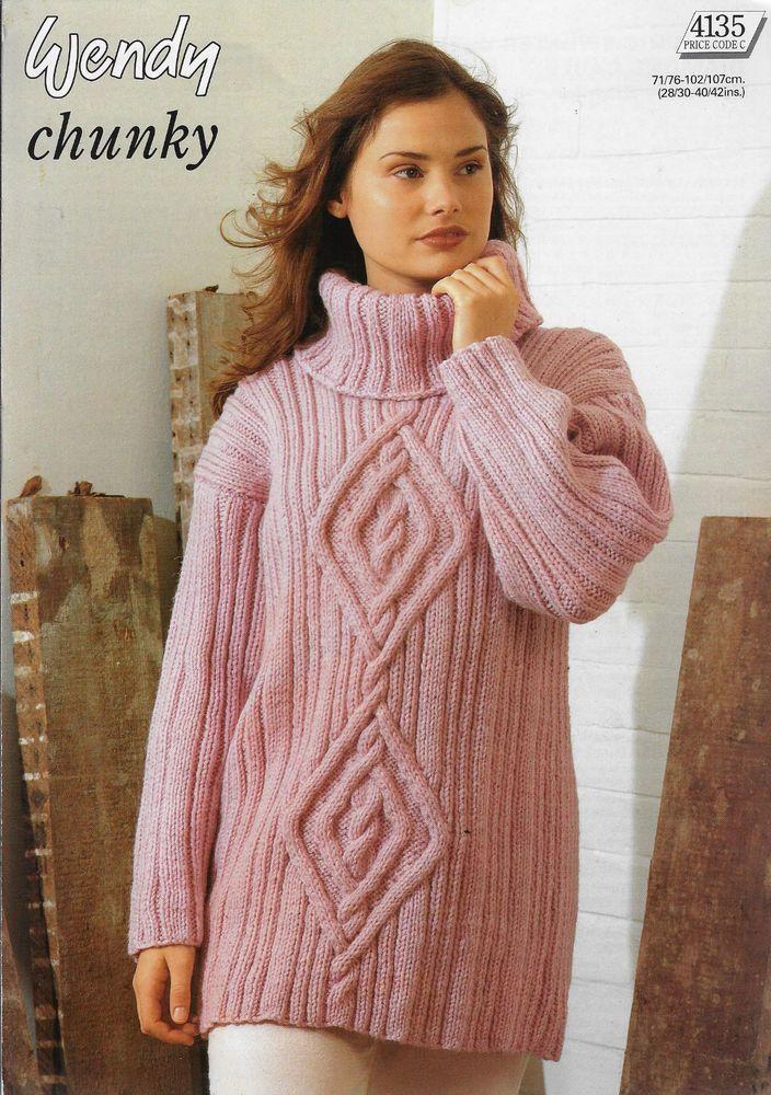 Womens Cable Rib Sweater Wendy 4135 Knitting Pattern Chunky Yarn