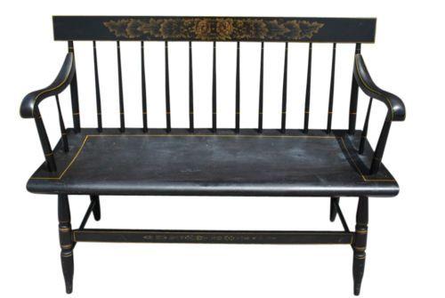 Vintage Hitchcock Furniture Black Spindle Back Deacons