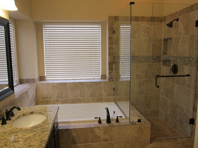 Traditional Small Bathroom Design With Separate Shower And Tub With Faucets